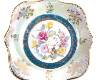 Vintage Rose Plate Lusterware Iridescent Dish Made in Japan Hand Painted Roses Gold Accents Square Floral Plate Candy Bowl Vanity Trinkets