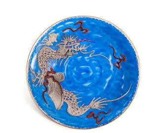 Vintage Dragonware Saucer Made in Occupied Japan Royal Blue Dragon Design Demitasse Moriage Porcelain