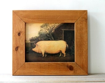 Farm pig vintage framed print / fall home decor / English country rustic style / pig wall decor / primitive pine frame rustic pig art print