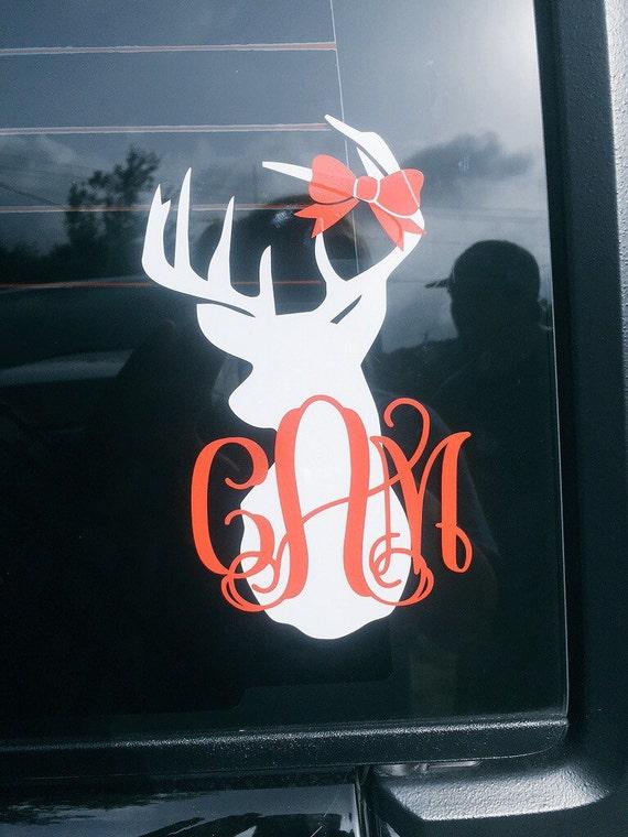 Deer Head Car Decal Vinyl Decal Car Window Decal Personalized - Vinyl car decals for windows