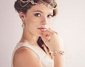 Gatsby Bridal Headpiece Tiara, Gold Crystal Hairvine , The Daisy Couture Headpiece #11