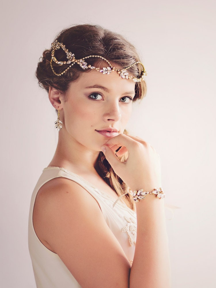 Custom Couture Gatsby Bridal Headpiece Tiara Gold Crystal