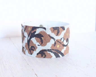 Hand Painted Leather Cuff Bracelet, Painted , Leather Jewelry,Leather Accessories