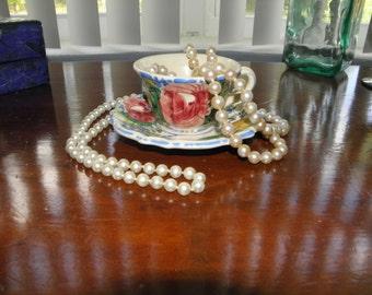 Italian Mojorica Nova Rose Vintage Demitasse Cup & Saucer, Majorica Pottery, Tea Cup, Hand Painted