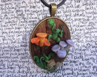 Forest Tree Pendant, Mushrooms, Frog, Slug, Moss, Polymer Clay