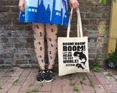 Orca Tote Bag, Save the Whales Charity Tote Bag, WCA World Cetacean, Killer Whale Tote, Beach Bag, 90s Music Tote, Screenprint Tote, Whales