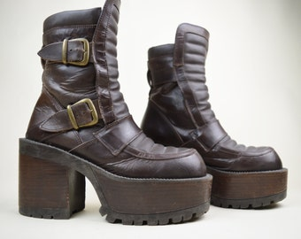 90s Grunge Goth Buffalo Brown Leather Gold Double Buckle Ribbed Puffy Tongue Chunky Heel Mega Platform Biker Boots UK 5.5 / US 8 / EU 38.5