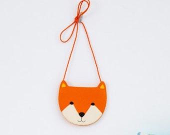 Pre-cut Felt Kit - Fox zipper bag for kids, children bag, handmade children bag, little fox, animal bag