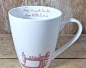 Sewing Machine Mug, Sew Much To Do, Sew Little Time, 14 oz Teacup  Mug, Porcelain,  Antique Sewing Machine, Coffee Mug, Ready to Ship