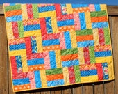 Baby Girl Quilt, Baby Quilt, Fancy Quilt, Primary Colors, Red Blue Yellow, Bright Nursery Bedding, Moda, Handmade, Strip Quilt, Crib