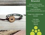 Summer Bracelet. Tree Bracelet. Leather Wrap Jewelry. Nature Bracelet. Green White Bracelet. Friend Gift. Friendship Jewelry. Stone Leather