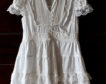 Izzy Roo  Mori Dolly Kei Ruffled Tunic Dress Boho Romantic  Shabby Chic Style