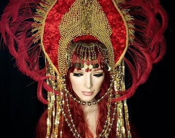 READY TO SHIP Belly dancer tribal gypsy red gold Inspired art headdress headpiece avant garde fantasy fairy synthetic hair