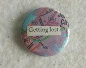 Getting Lost pastel wanderlust OOAK pin - adventure travel journey - gift for traveler, friend, Xmas, stocking stuffer - world countries