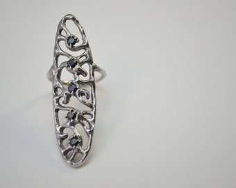Sterling Silver Cocktail Statement Oval Swirl Lace Filigree Ring with Black Cubic Zirconia Size 6.5 / Lost Wax Casting / Je T'Aimee Jewelry