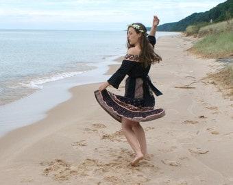 Vintage 70s Boho Dress - Black & Pink Peasant Dress, Gypsy Costume, Hippie Chic - S/M