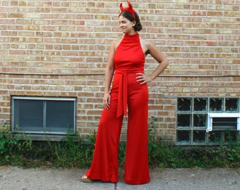 Vintage 70s Jumpsuit - Disco Devil Costume Cherry Red Halter Open Back - SM