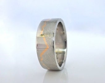 Gold Inlay Mountain Ring, 8mm band, Handcafted Platinum with 22k Gold inlay or Palladium with 18k Gold, Mountain Wedding, Mountain Ring