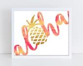 Aloha Art Print || art print, beach decor, hawaii, aloha, pineapple, peach, gold foil, wall art, watercolor, paradise