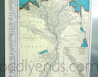 1939 Egypt Vintage Atlas Map