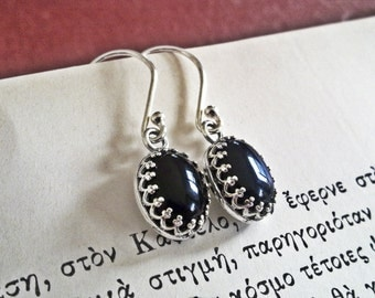 Black Onyx Earrings Sterling Silver Black Stone Earrings Onyx Jewelry Black Gemstone Earrings Victorian Gothic Jewelry Filigree Earrings