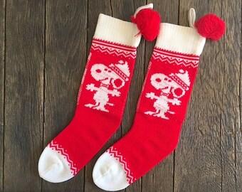 2 Vintage Snoopy Christmas Stockings - Knit Snoopy Stockings - Hallmark Christmas Stockings - Red And White Snoopy Christmas Stockings