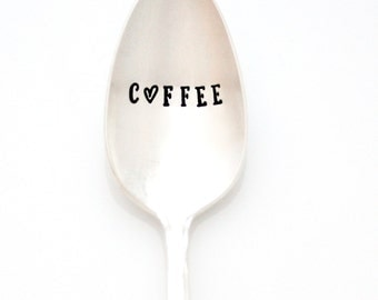COFFEE stamped spoon. Stamped Coffee Spoon with heart. Coffee station decor,  coffee lover gift, coffee presents by Milk & Honey.