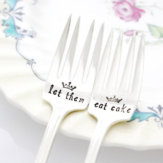 Let Them Eat Cake, set of 2 floral vintage silver handstamped dessert forks with Marie Antoinette quote for French table decor