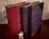 Antique French Book Collection 1909 Leather Bound w/ Marbled Inset