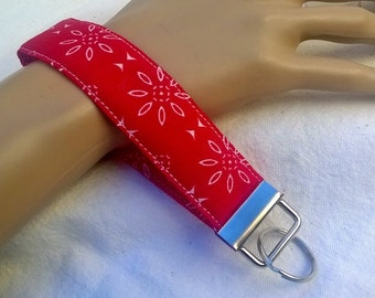 Unisex Key Wristlet ~ Fabric Key Chain ~ All Occasion Gift ~ White Flowers on Red Field