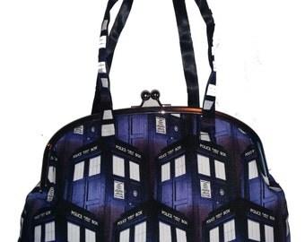 Handmade Frame Bag in Cotton Doctor Who Tardis Print
