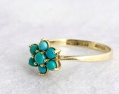 VALENTINES DAY SALE Antique Turquoise Cluster Ring 9k Gold Victorian Edwardian Promise Ring Engagement Ring Scottish