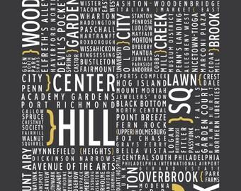 Philadelphia, Pennsylvania Neighborhoods - Typography Print