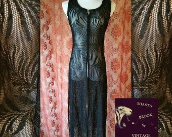 Black Lace Fringed Coverup Dress - Repurposed Fringe Dress - Swimsuit Coverup - Flapper Dress - Art Deco Edwardian - Womens XS Small Medium