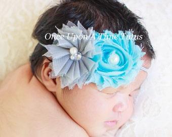 Aqua Blue Gray Shabby Chiffon Headband - Grey Baby Girl First Photo Prop - Trendy Modern Little Girls Hairbow Accessory - Skinny Hair Bow