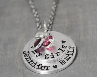 Mother Necklace, My Girls Necklace, Mommy Necklace, Hand Stamped Jewelry, Birthstone Necklace, Child Name Necklace, Mother Jewelry