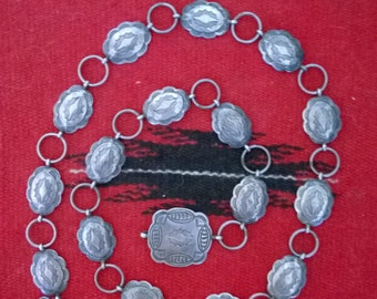 Vintage 1970's Native American Small Silver Concho Belt