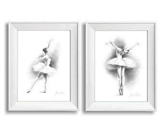 Set of 2 Prints, Ballerina Art, Ballerina Prints, Sketch of Ballerina, Ballerina Drawing, Ballet Art, Gift for Girl, Ballerina Picture