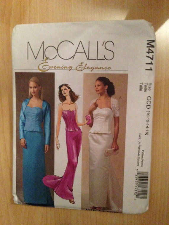 McCall's Sewing Pattern 4711 Evening Elegance Misses/Miss Petite Lined Shrug, Bustier and Skirt Size 10-16