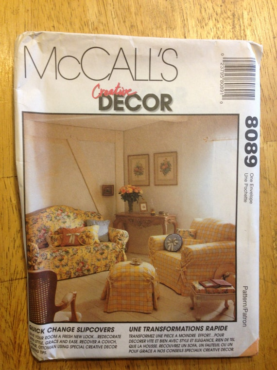McCall's Decor Sewing Pattern 8089 Sofa Cover, Chair, Ottoman Cover and Pillow Cases 90s