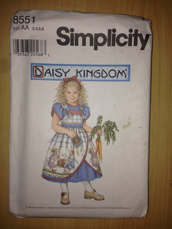 Simplicity 8551 90s Sewing Pattern Uncut Girls Dress and Pinafore Size 3-6 Or 5-8