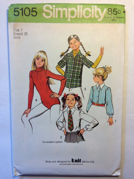 Vintage 70s Simplicity 5105 Sewing Pattern Girls Bodysuit Set of Blouses and Tie Size 7