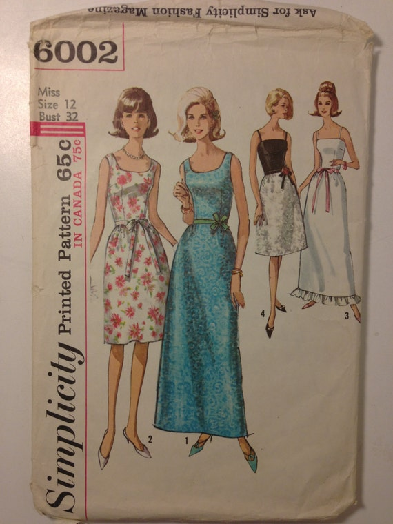 Vintage 60s Simplicity 6002 Sewing Pattern Juniors and Misses One Piece Dress in Two Lengths Size 12