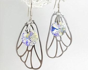 Fairy Wing Earrings, Fairy Earrings, Wing Earrings, Butterfly Earrings, Woodland Earrings, Fairy Costume Jewelry, Sterling Silver Earrings