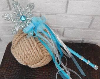 Flower Girl Wand- Blue Sparkly CINDERELLA Fairy Princess Rhinestone Wand Wedding Accessory