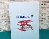 Set of 5 Hand Stamped USA Blank Note Cards, Hello or Thank You