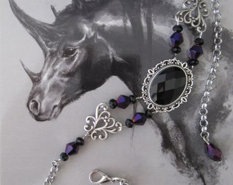 Choker Necklace Collier Black & Purple Gothic Burlesque Bohemian Victorian