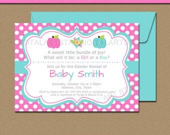 Pumpkin Gender Reveal Invitation Template - Printable Gender Reveal Invite - Baby Reveal Party Invite - Pumpkin Baby Shower Invitations