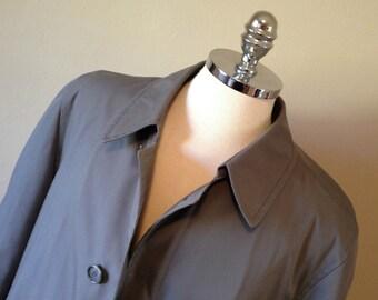 Vintage London Fog Maincoat Gray TRENCH COAT Overcoat 42R Removable Fleece Liner L