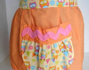 Childs Apron, Half Apron, Owl Apron, Large Pocket Apron, Craft Apron, Party Apron, Cotton Apron, Orange Apron, Kids Apron, Extra Long Ties